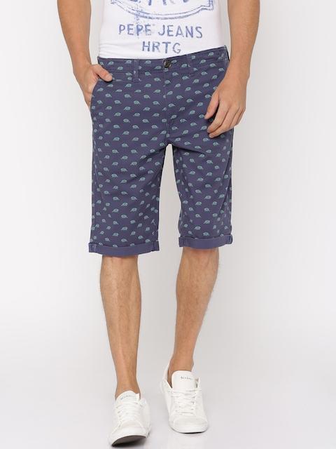 Lee Men Navy Blue Printed Slim Fit Chino Shorts