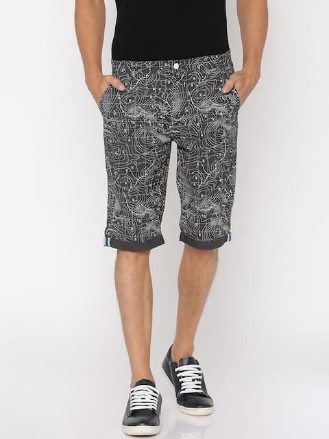 Lee Men Charcoal Grey Printed Slim Fit Chino Shorts
