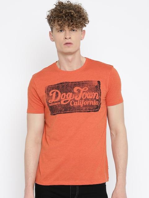 Lee Men Orange Printed Round Neck T-shirt