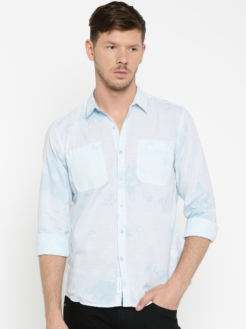 Lee Men Blue Slim Fit Printed Casual Shirt