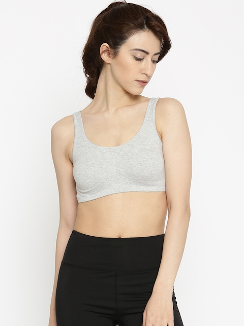 Enamor Grey Melange Solid Non-Wired Non Padded Sports Bra  available at myntra for Rs.299