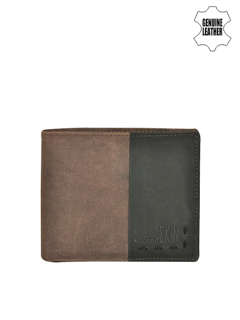 Second SKIN Men Brown & Black Colourblocked Genuine Leather Wallet