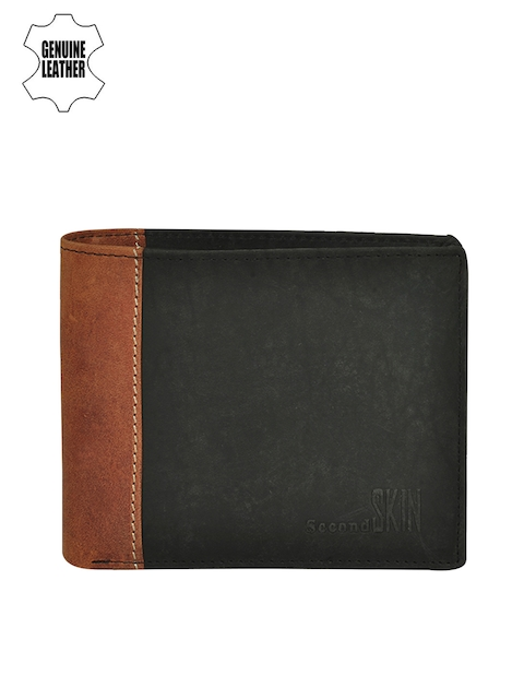 Second SKIN Men Black & Tan Brown Colourblocked Genuine Leather Wallet