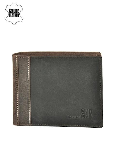 Second SKIN Men Brown & Black Colourblocked Genuine Leather Wallet