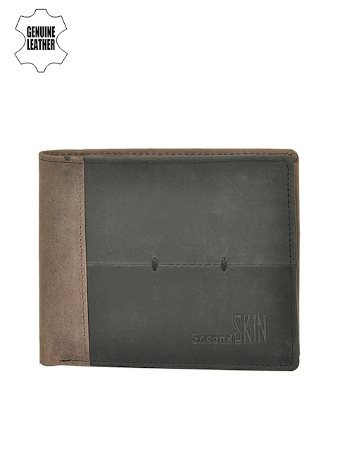 Second SKIN Men Black & Brown Colourblocked Genuine Leather Wallet