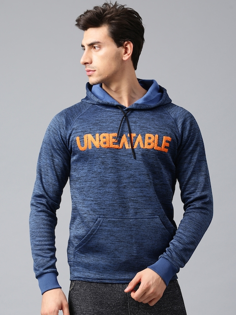 HRX by Hrithik Roshan Men Blue Self-Design Hooded Sweatshirt