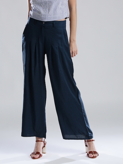 W Women Teal Blue Solid Parallel Trousers
