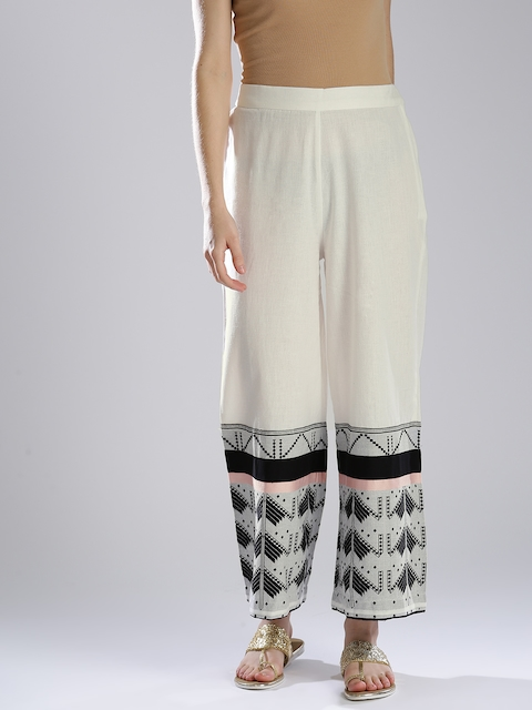 W Women White Printed Parallel Trousers