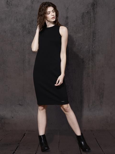 Roadster Women Black Solid Bodycon Dress