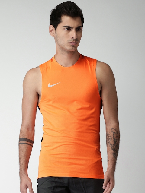 Nike Men Neon Orange CR7 BRT SQD Solid Round Neck T-shirt  available at myntra for Rs.918