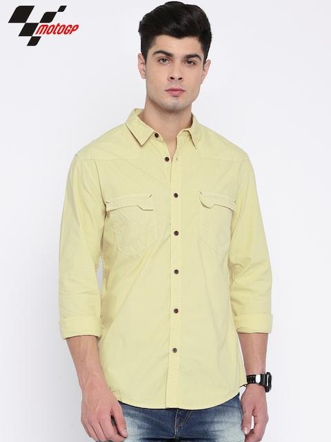 RDSTR Men Beige Slim Fit Solid Casual Shirt