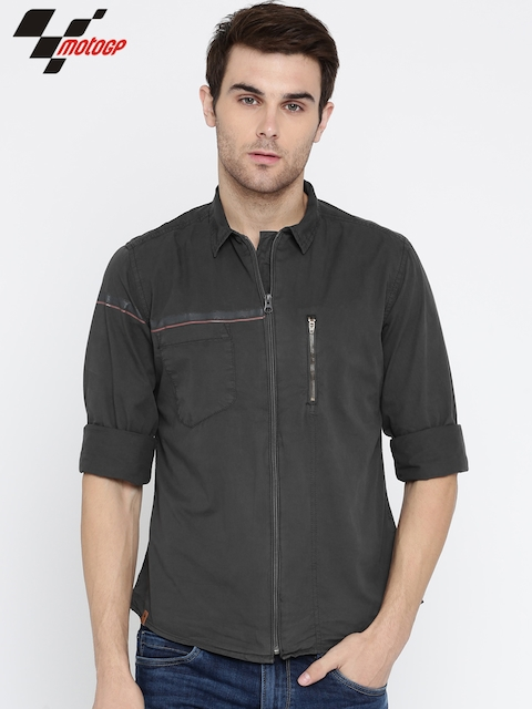 RDSTR Men Charcoal Grey MotoGP Slim Fit Casual Shirt