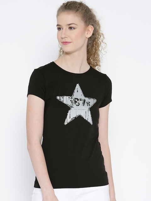 Jockey Women Black Printed Round Neck T-shirt