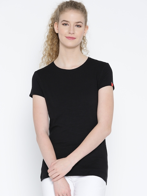 Jockey Women Black Solid Round Neck T-shirt