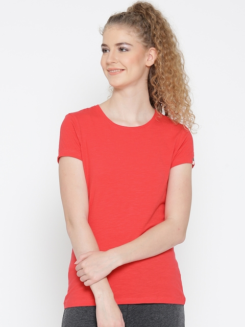 Jockey Women Coral Red Solid Round Neck T-shirt