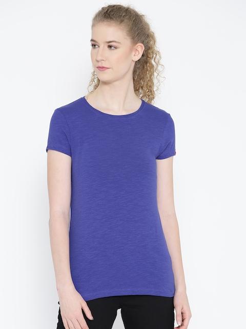 Jockey Women Blue Solid Round Neck T-shirt