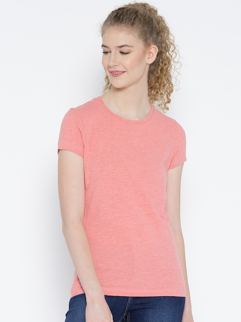 Jockey Women Pink Solid Round Neck T-shirt