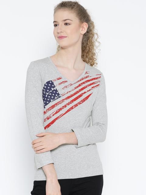 Jockey Women Grey Melange Printed V-Neck T-shirt