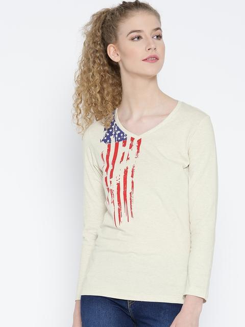 Jockey Women Cream-Coloured Printed V-Neck T-shirt
