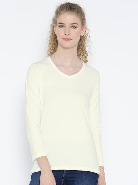 Jockey Women White Printed Back V-Neck T-shirt