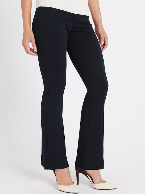 Marks & Spencer Women Navy Slim Solid Bootcut Trousers