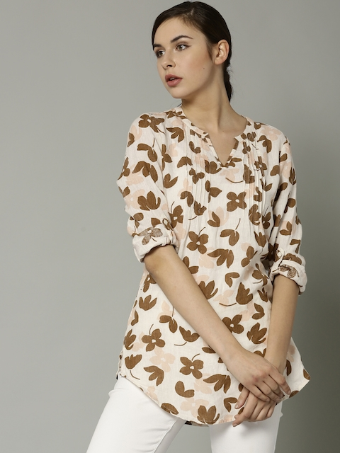 Marks & Spencer Off-White & Brown Printed Tunic