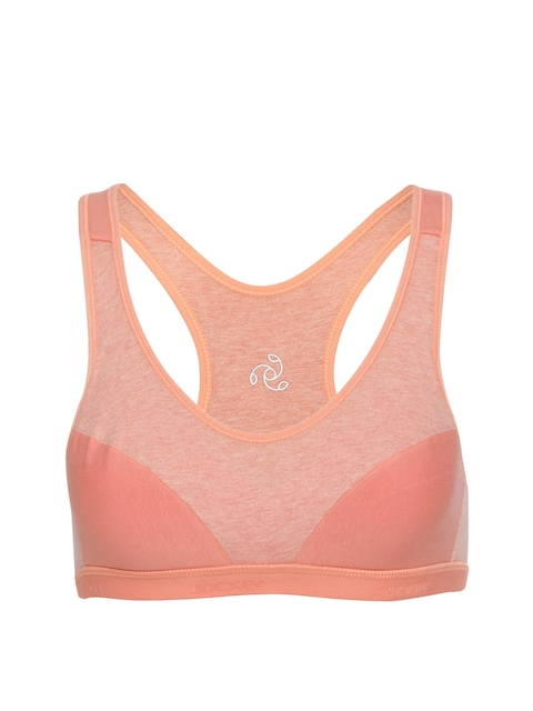 Jockey Peach-Coloured Solid Non-Wired Lightly Padded Sports Bra