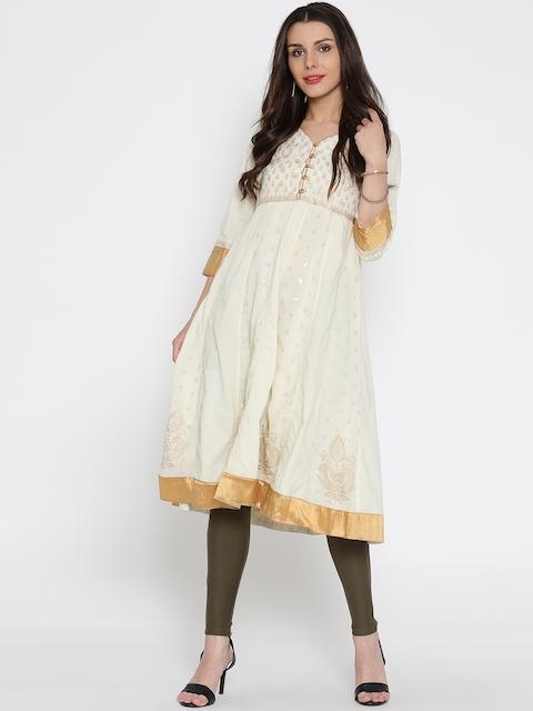 Rangriti Women Cream-Coloured Printed Anarkali Kurta