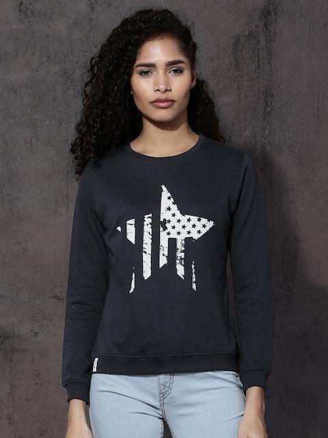 Roadster Women Navy Printed Sweatshirt