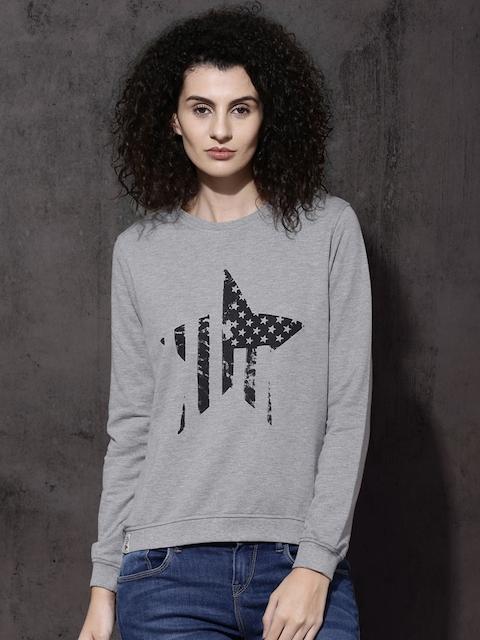 Roadster Women Grey Melange Printed Sweatshirt