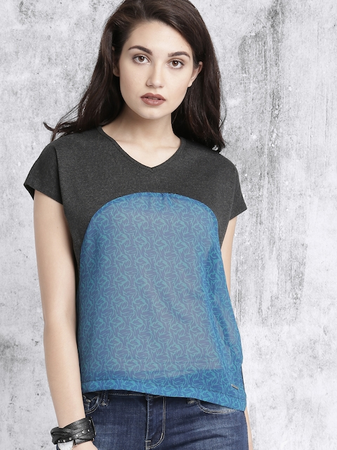 Roadster Women Charcoal Grey & Blue Printed Top