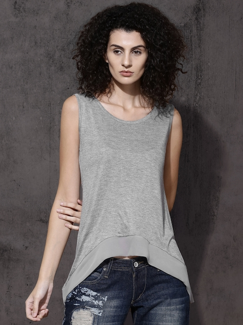Roadster Women Grey Melange Solid High-Low Top