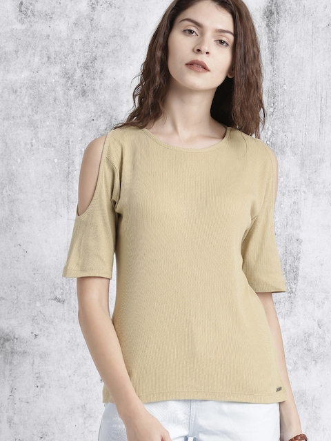 Roadster Women Beige Self-Design Top