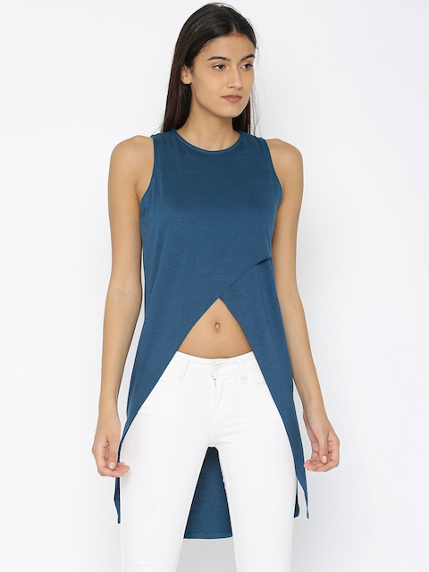 Roadster Women Teal Blue Solid High-Low Top