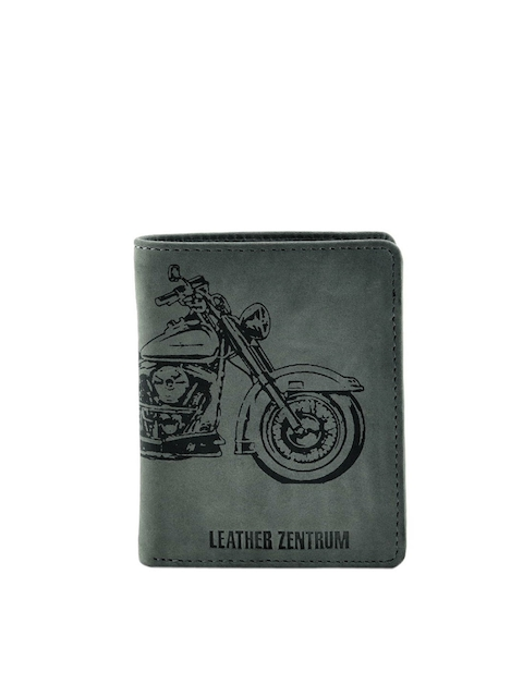 Leather Zentrum Men Olive Green Leather Printed Two Fold Wallet