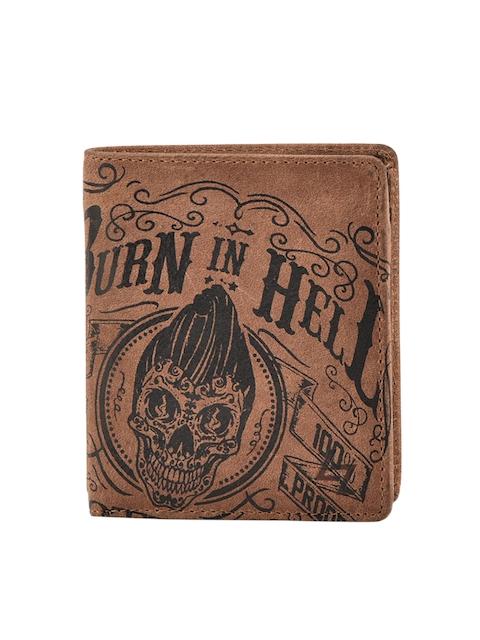Leather Zentrum Men Brown Printed Two Fold Wallet