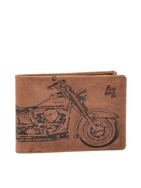Leather Zentrum Men Brown Leather Printed Two Fold Wallet