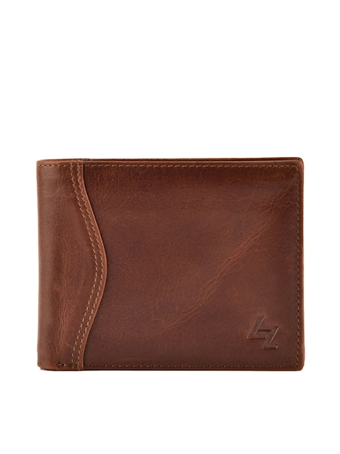 Leather Zentrum Men Tan Brown Solid Leather Two Fold Wallet
