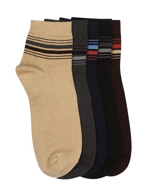 Calzini Men Pack of 5 Multicoloured Patterned Ankle-Length Socks