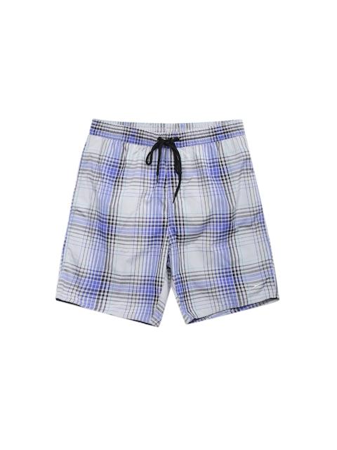 Speedo Men Grey & Blue Yarn Dyed Checked Water Shorts
