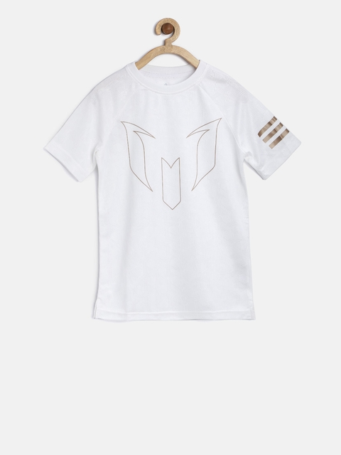 ADIDAS Boys Off-White Self-Design Round Neck T-shirt