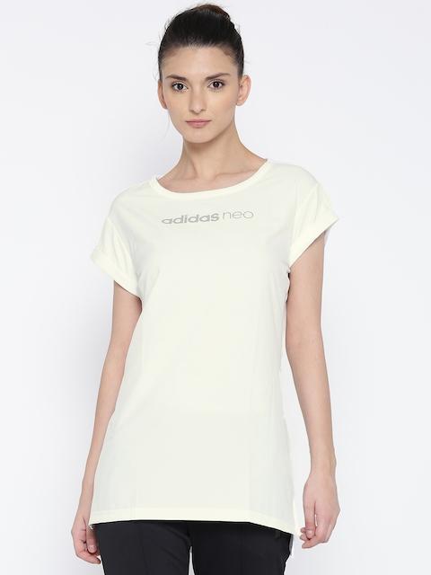 Adidas NEO Women White SD ELONG Printed Round Neck T-shirt
