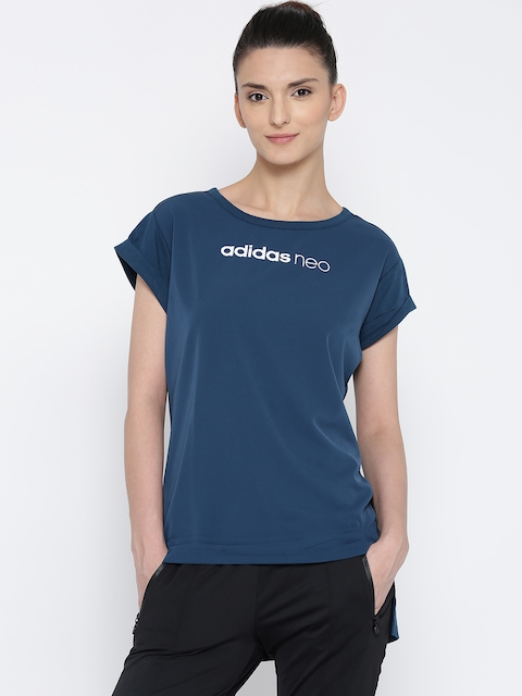 Adidas NEO Women Blue SD ELONG Solid Longline Top