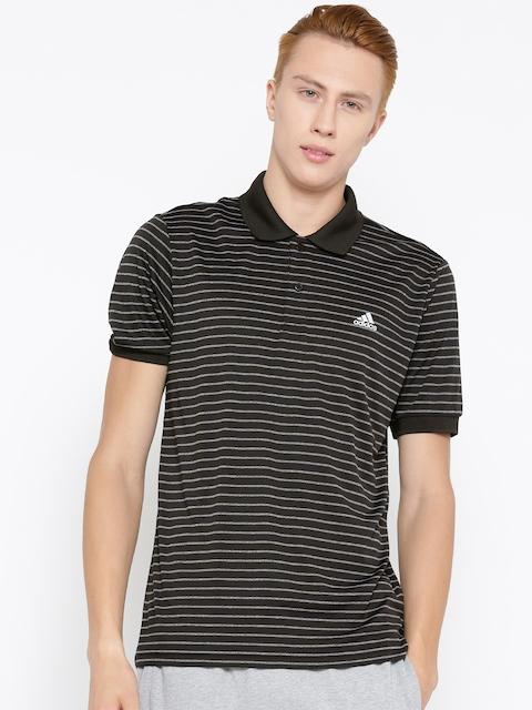 Adidas Men Black S17 SMU Striped Polo Collar T-shirt