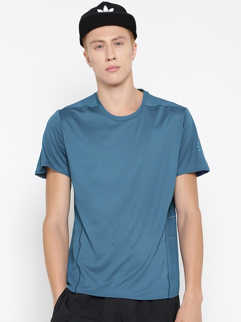 ADIDAS Men Blue TKO Solid Round Neck Running T-shirt
