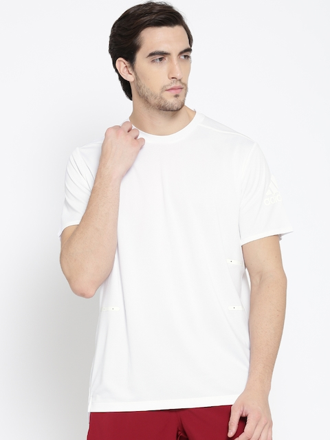 Adidas Men White SN 37C Solid Round Neck T-shirt