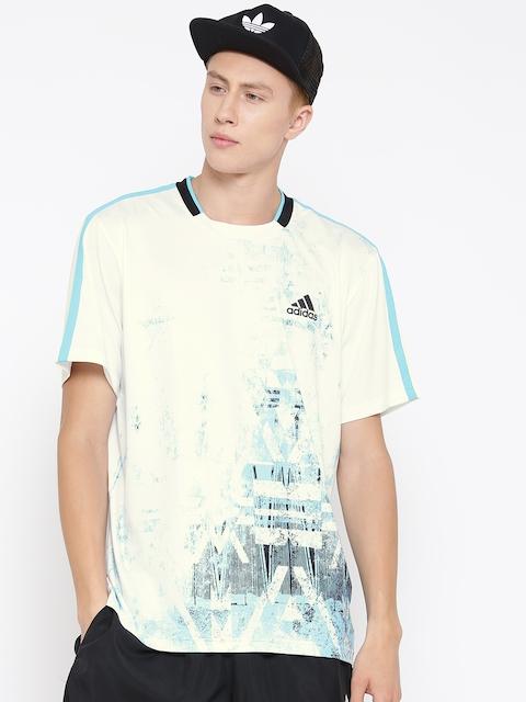 Adidas Men White ESSEX TR Printed Round Neck T-shirt