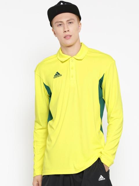 Adidas Men Yellow LS B Solid Longline Polo Collar T-shirt