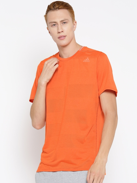 Adidas Men Orange SN SS Self-Striped Round Neck T-shirt