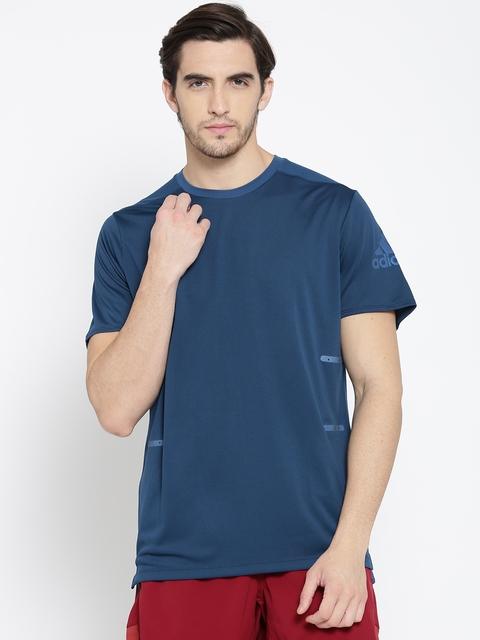 Adidas Men Navy SN 37C Solid Round Neck T-shirt